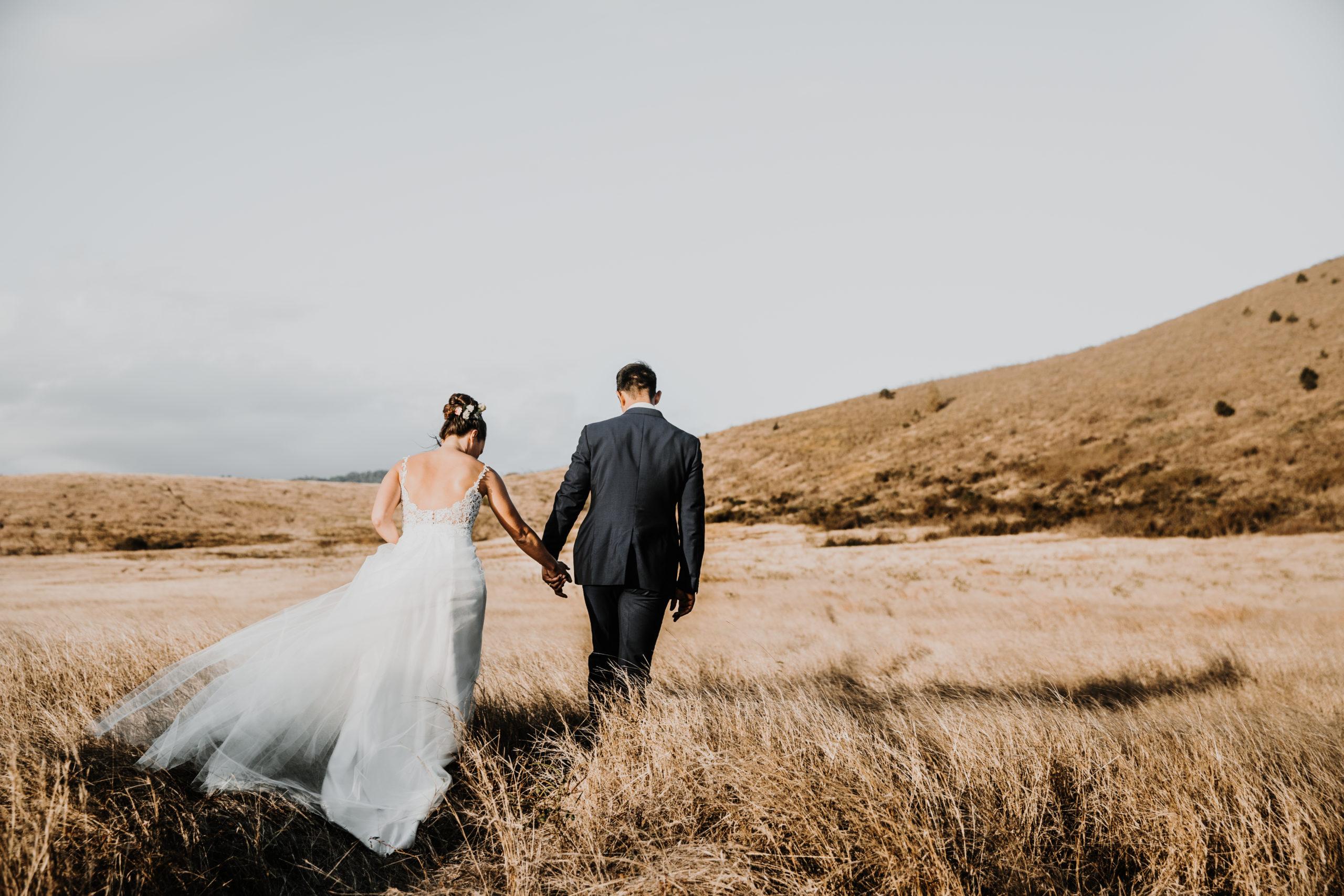 couple de mariés de dos, marchent dans les herbes hautes en se tenant la main au coucher du soleil